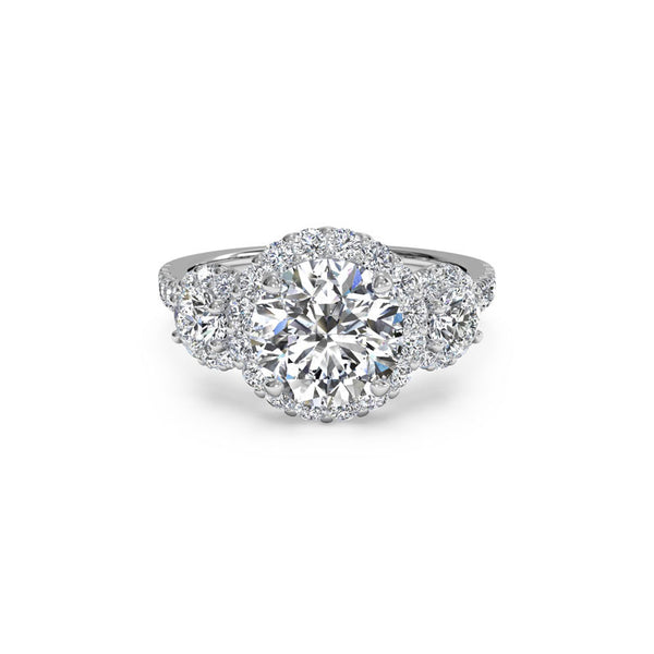 Ritani Three-Stone Halo Round Brilliant Diamond Engagement Ring