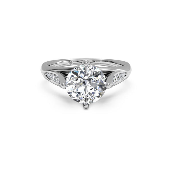 Ritani Vintage Tulip Round Brilliant Diamond Engagement Ring