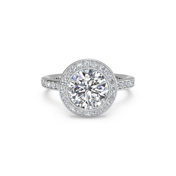 Ritani Vintage Micropave Halo Round Brilliant Diamond Engagement Ring