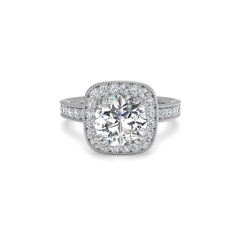 Ritani Vintage Cushion Halo Round Brilliant Diamond Engagement Ring