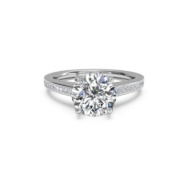 Ritani Micropave Round Brilliant Diamond Engagement Ring