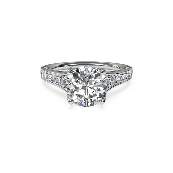 Ritani Tapered Pave Round Brilliant Diamond Engagement Ring