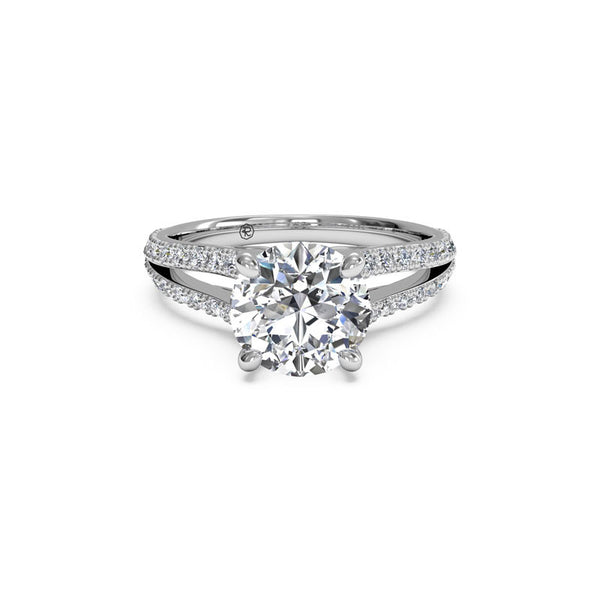Ritani Split-Shank French-Set Round Brilliant Diamond Engagement Ring