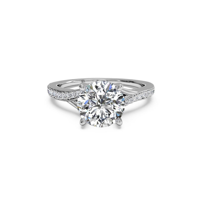 Ritani Micropave Bypass Round Brilliant Diamond Engagement Ring