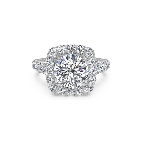 Ritani Round Brilliant Cushion Halo Diamond Engagement Ring