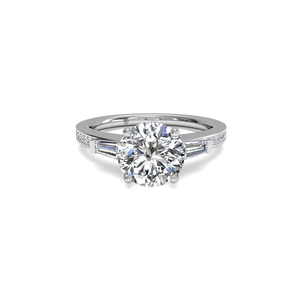 Ritani Tapered Baguette Round Brilliant Diamond Engagement Ring