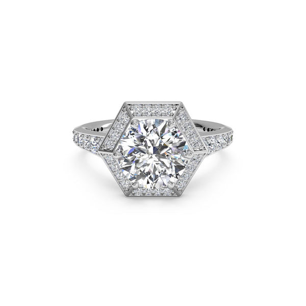 Ritani Vintage Hexagonal Halo Round Brilliant Diamond Engagement Ring