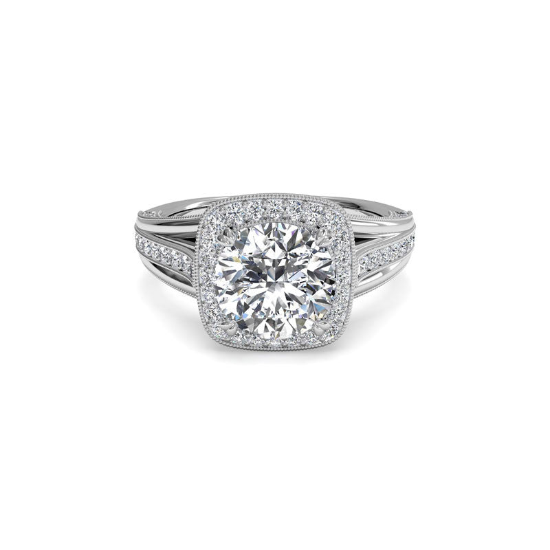 Ritani Miligrain Halo Surprise Diamond Round Diamond Engagement Ring