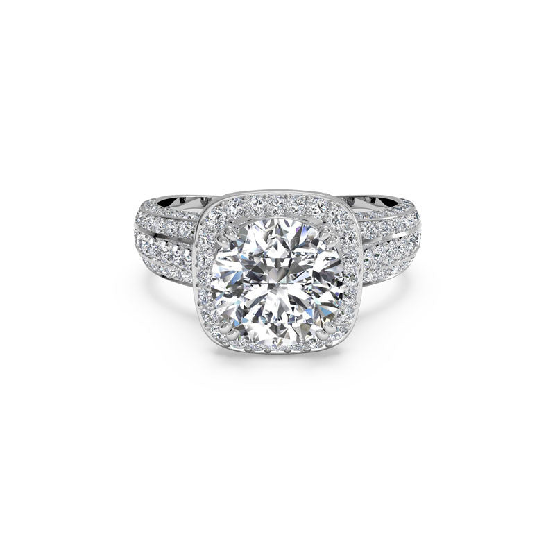 Ritani Three-Row Cushion Halo Round Brilliant Diamond Engagement Ring