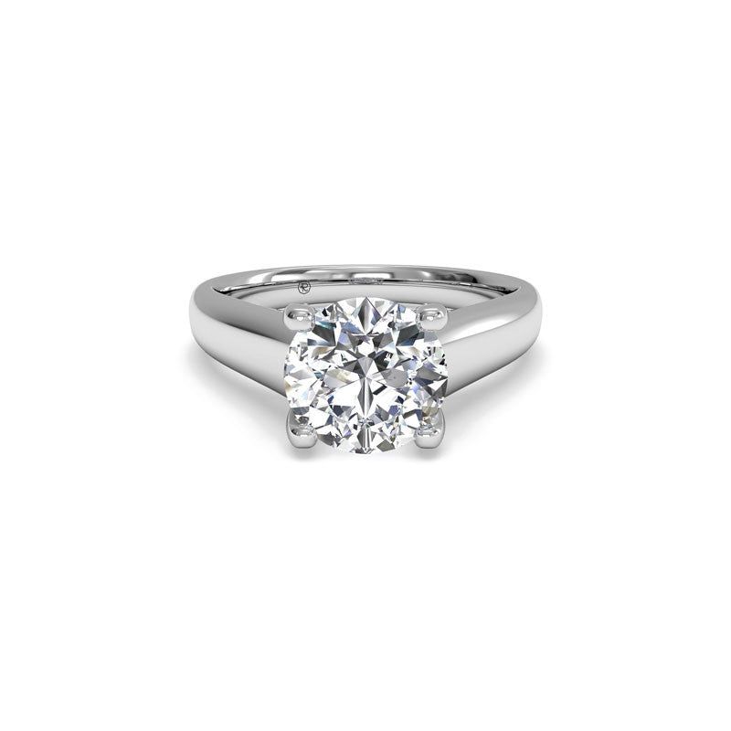 Ritani Pave Tulip Solitaire Round Brilliant Diamond Engagement Ring