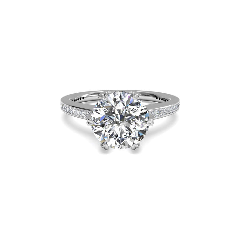 Ritani Six-Prong Micropave Round Brilliant Diamond Engagement Ring