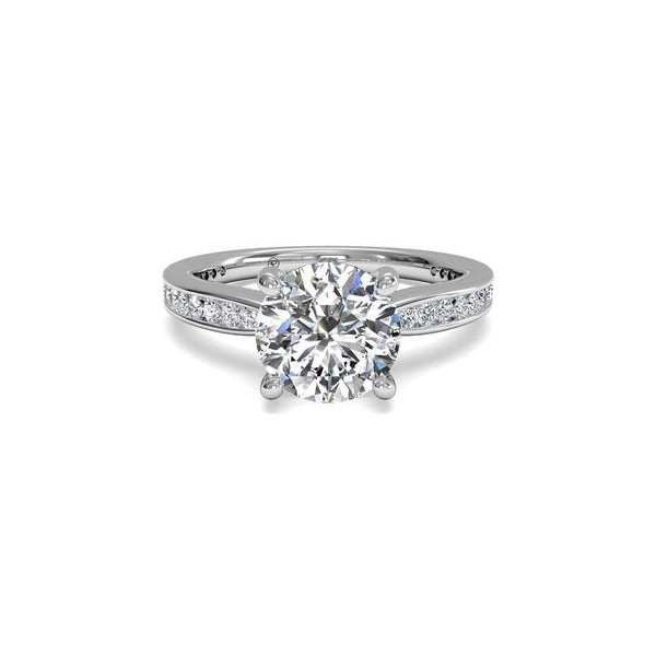 Ritani Tapered Channel-Set Round Brilliant Diamond Engagement Ring