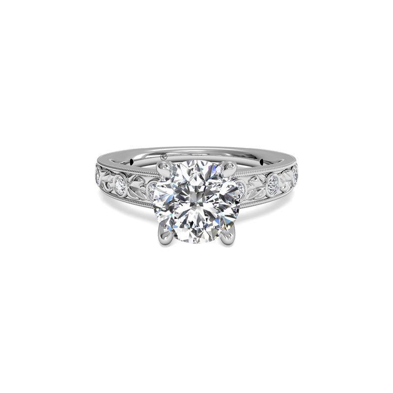 Ritani Grecian Leaf Round Brilliant Diamond Engagement Ring