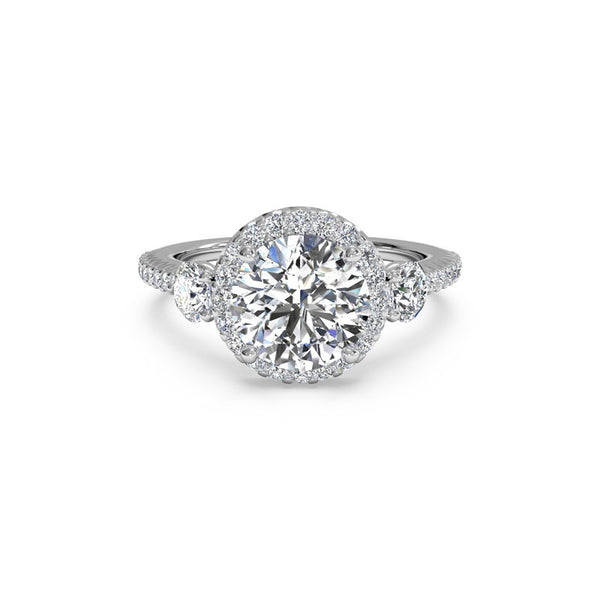 Ritani Three-Stone Round Halo Round Brilliant Diamond Engagement Ring