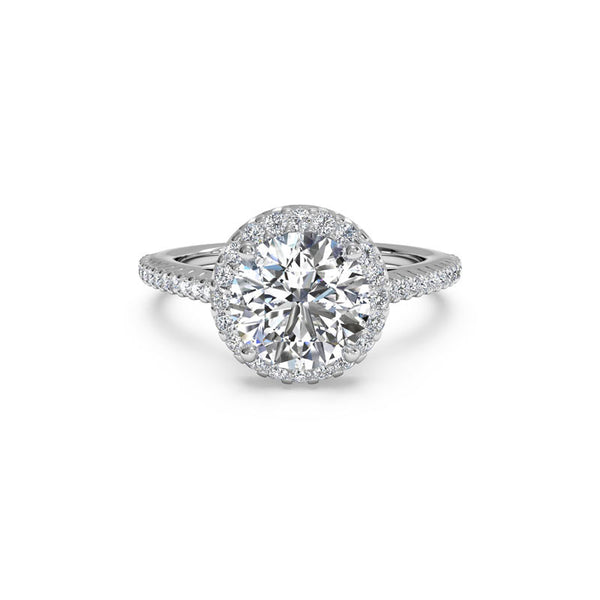 Ritani French-Set Halo Round Brilliant Diamond Engagement Ring