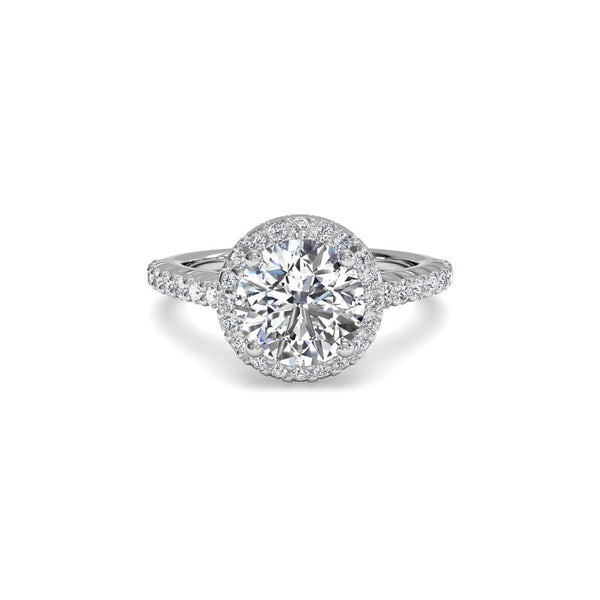 Ritani French-Set Halo Round Brilliant Diamond Ring
