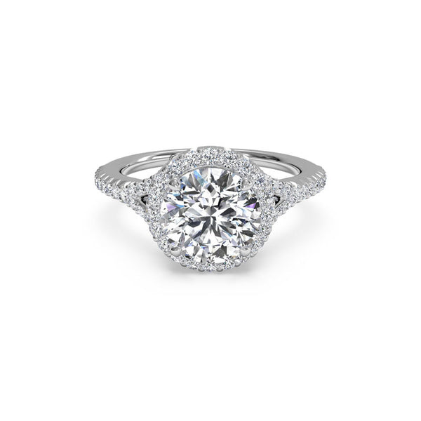 Ritani French-Set Halo V-Band Round Diamond Engagement Ring