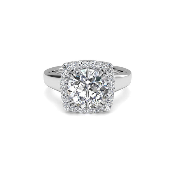 Ritani French-Set Cushion Halo Round Brilliant Diamond Engagement Ring