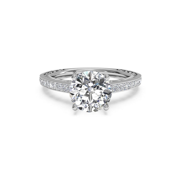 Ritani Lattice Micropave Round Brilliant Diamond Engagement Ring