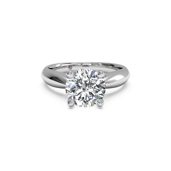Ritani Tapered Cathedral Round Brilliant Diamond Engagement Ring