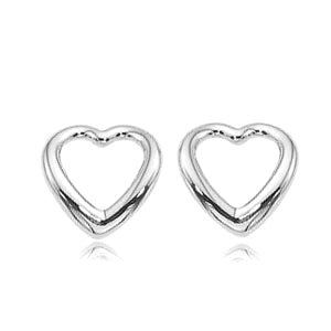 14 Karat White Gold Open Heart Earrings