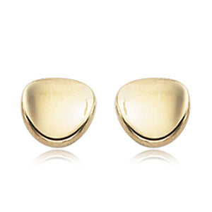 14mm Yellow Gold Dapped Disk Earrings