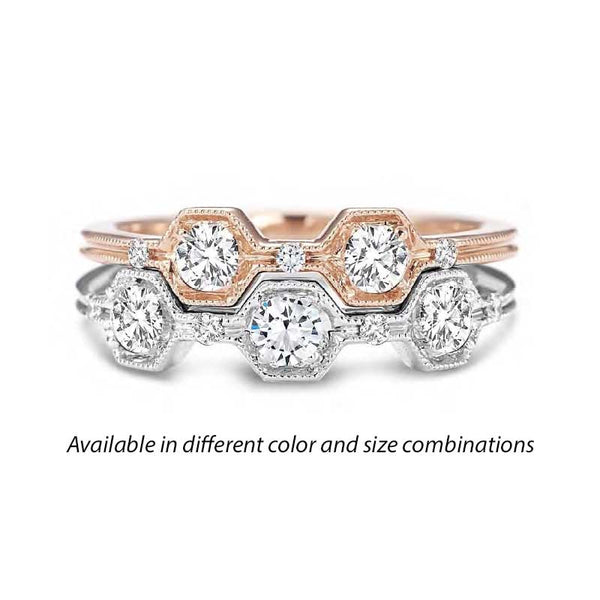 Forevermark Tribute™ Diamond Hexagonal Stack Band Set