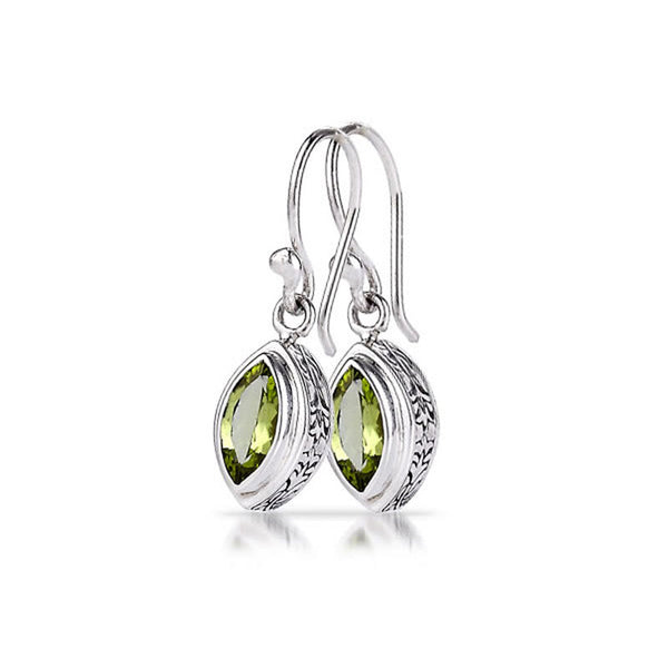 Rhapsody Collection Marquise Shaped Peridot Sterling Silver Earrings