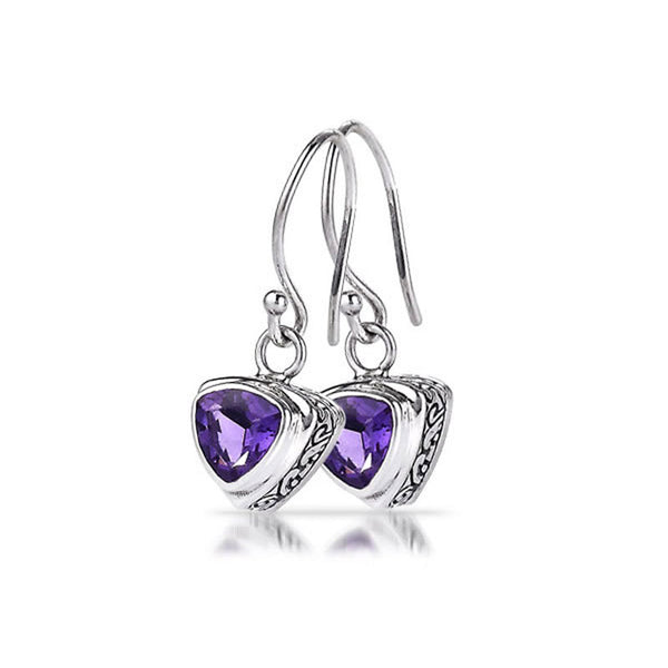 Rhapsody Collection Trillion Shaped Amethyst Sterling Silver Earrings