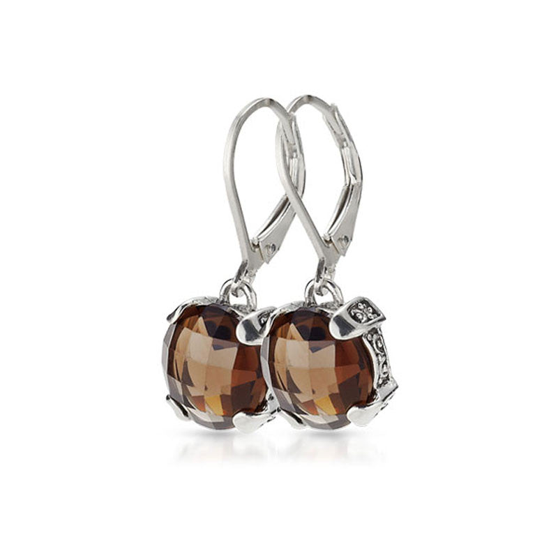 Aegean Scroll Collection Smoky Topaz Sterling Silver Earrings