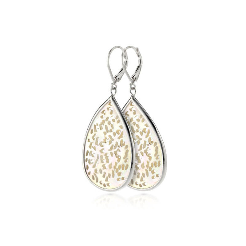 South Seas Teardrop Shaped Mother Of Pearl and Sterling Silver Earrings
