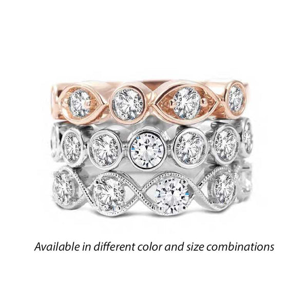 Forevermark Tribute™ Diamond Oval and Round 3 Stack Band Set