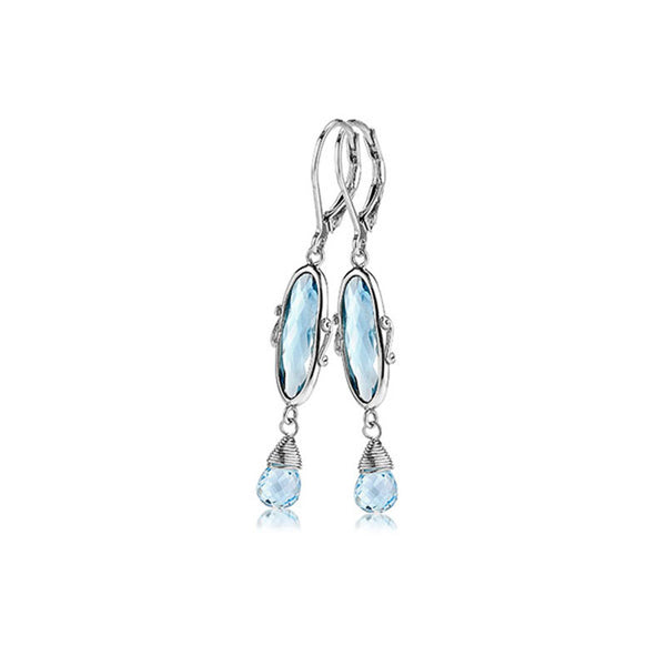 Signature Lace Collection Blue Topaz Sterling Silver Earrings