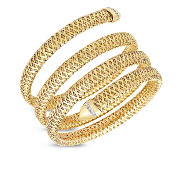 Primavera 18 karat yellow and white gold three row cuff diamond bracelet