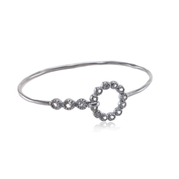 Haute Collection Round White Topaz Bangle