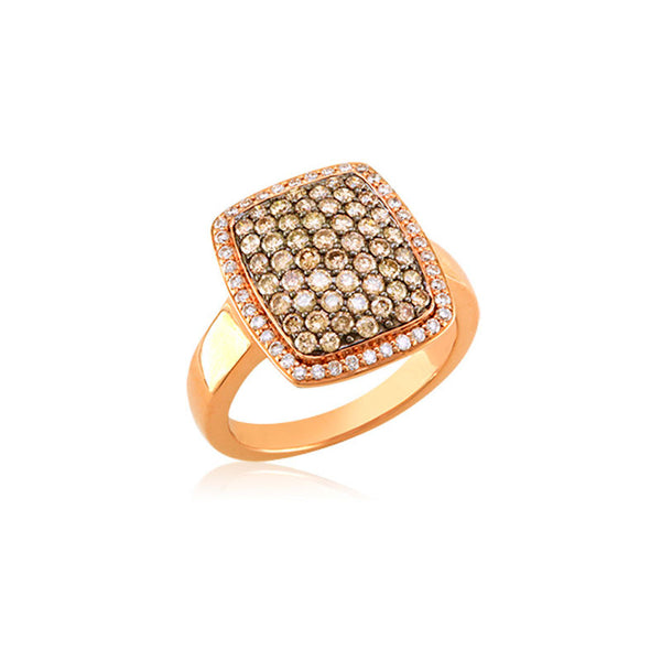 Bellagio Collection Cognac Diamond Elongated Pave Cushion Ring