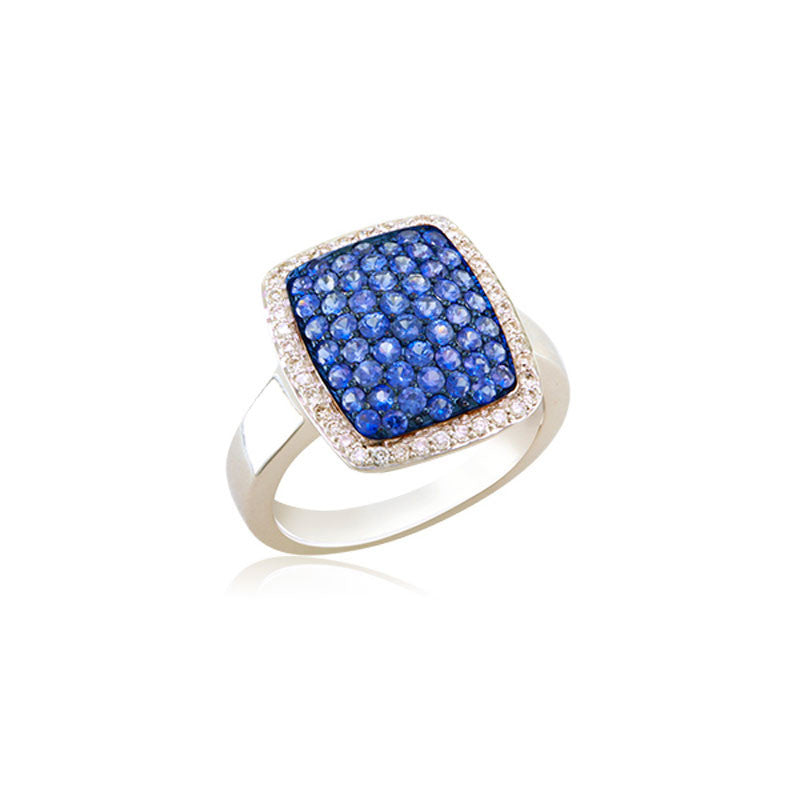 Bellagio Collection Sapphire and Diamond Elongated Pave Cushion Ring