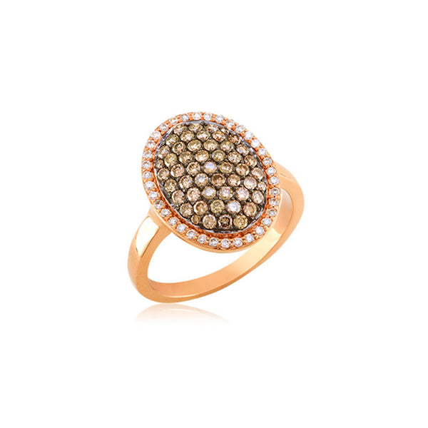 Bellagio Collection Cognac Diamond Pave Oval Ring