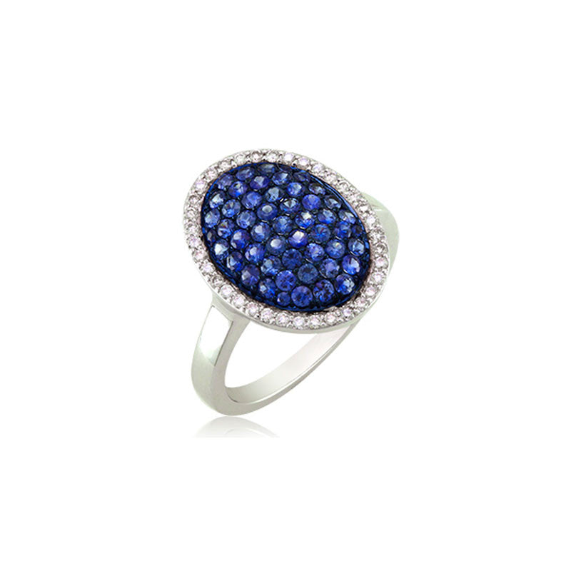 Bellagio Collection Sapphire and Diamond Pave Oval Ring