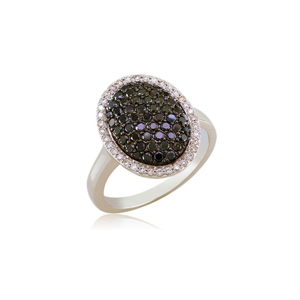 Bellagio Collection Black Diamond Pave Oval Ring
