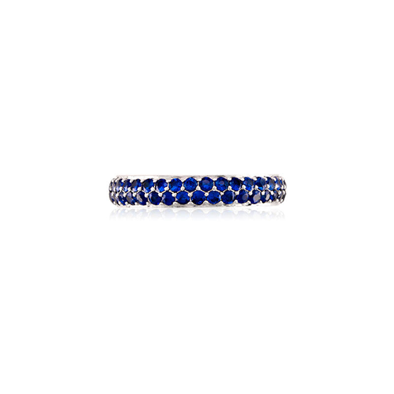Varenna Jewel Two Row Pave Set Blue Sapphire Eternity Band