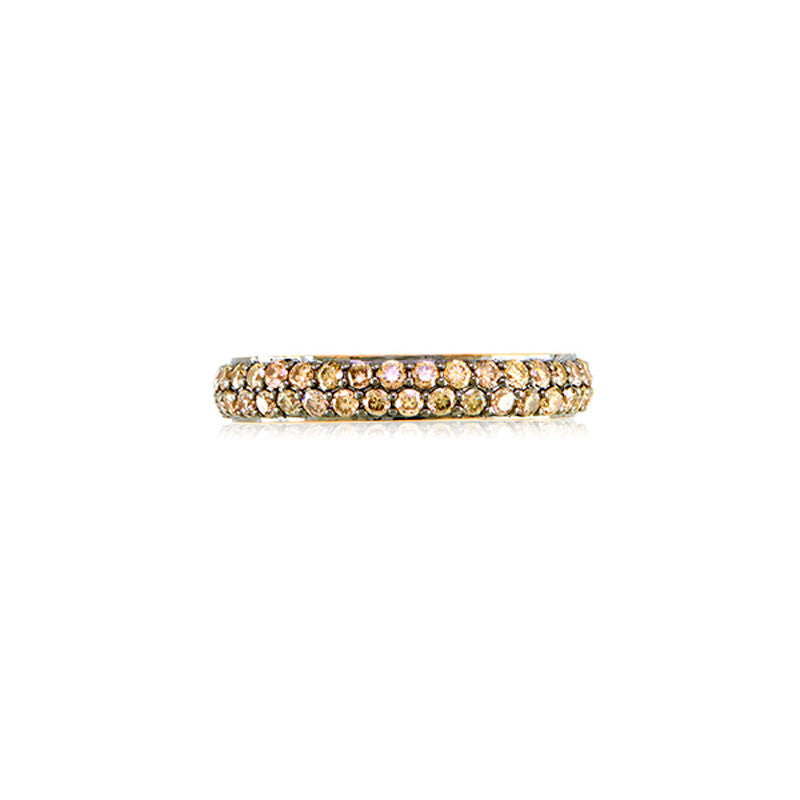 Varenna Jewel Two Row Pave Set Cognac Diamond Eternity Band