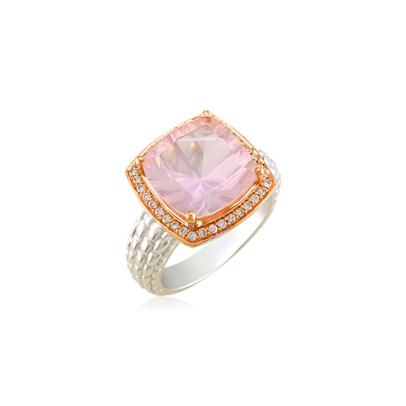 Pietra Collection Rose Quartz and Diamond Two-Tone Ring