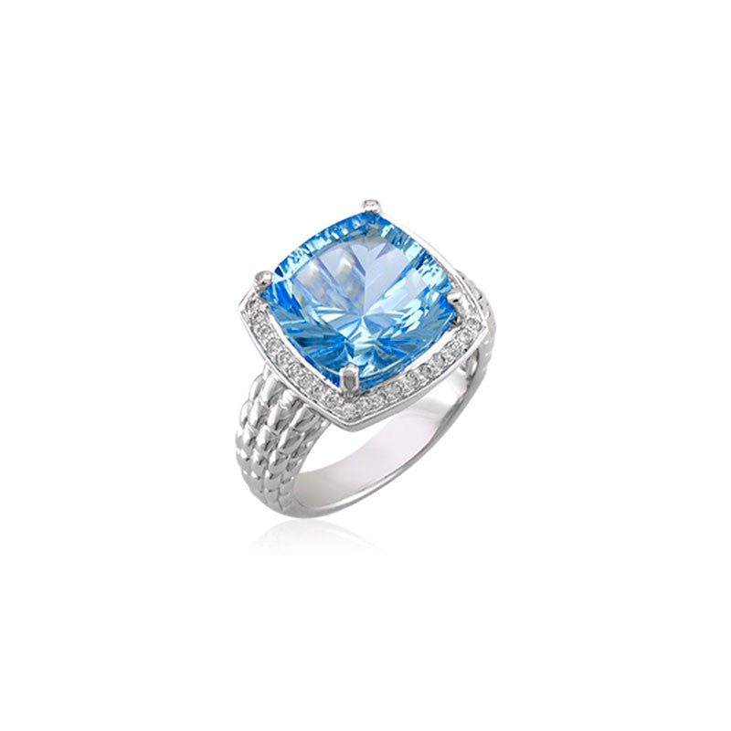 Pietra Collection Blue Topaz and Diamond Ring