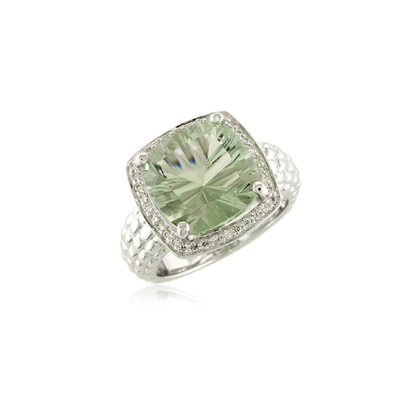 Pietra Collection Prasiolite and Diamond Ring