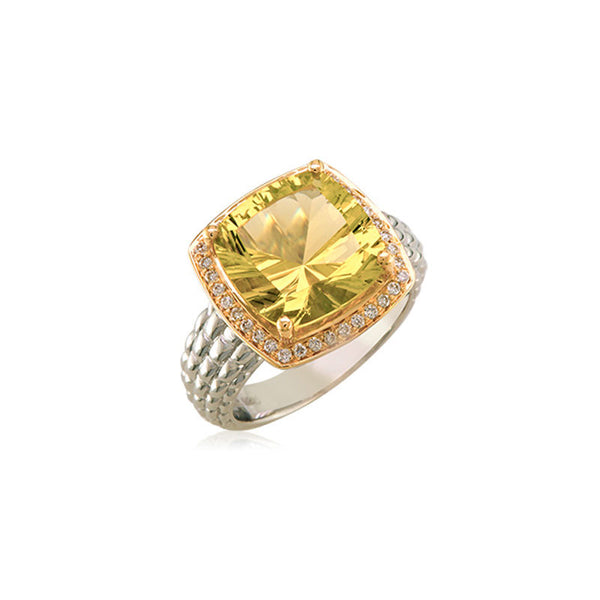 Pietra Collection Lemon Quartz and Diamond Two-Tone Ring