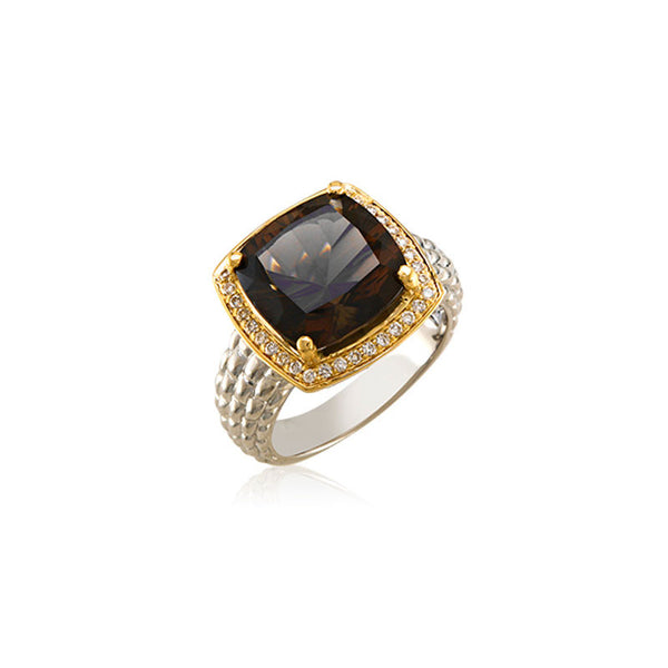 Pietra Collection Rich Chocolate Quartz and Diamond Two-Tone Ring