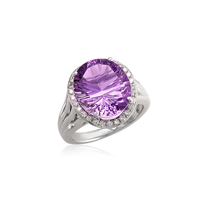 Lago Collection Amethyst and Diamond Ring