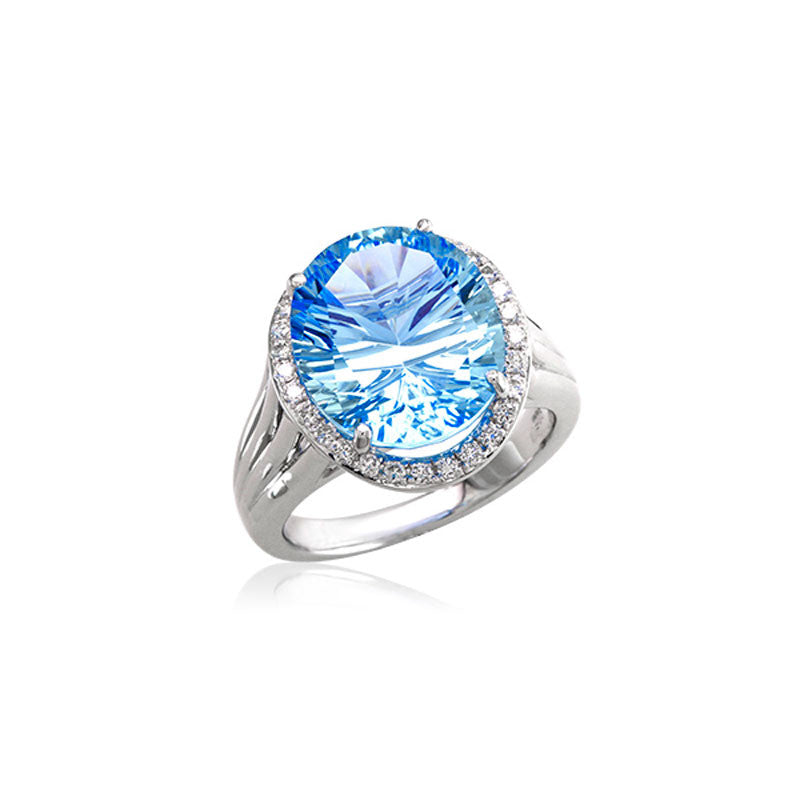 Lago Collection Blue Topaz and Diamond Ring