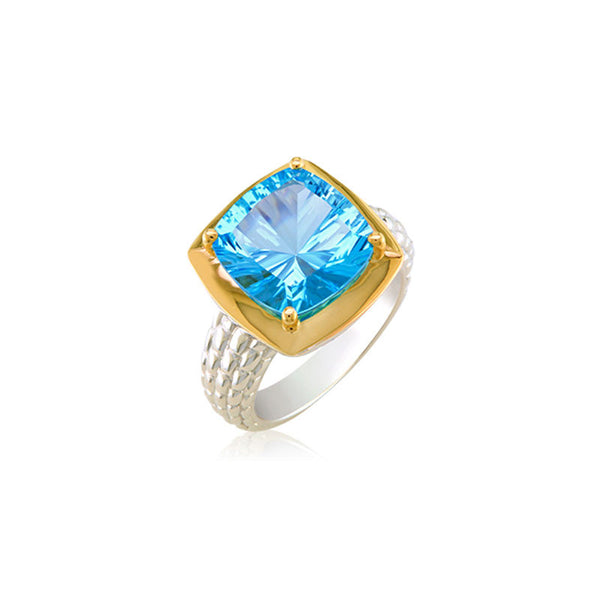 Pietra Collection Blue Topaz Two-Tone Ring